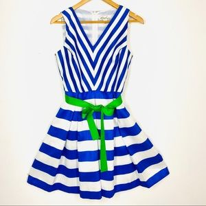 Swing Dress Size 10 Blue and White stripe